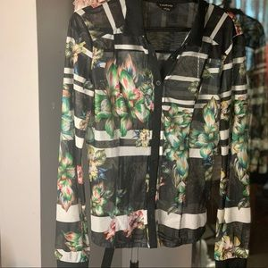 Bebe Floral Sheer Button Up